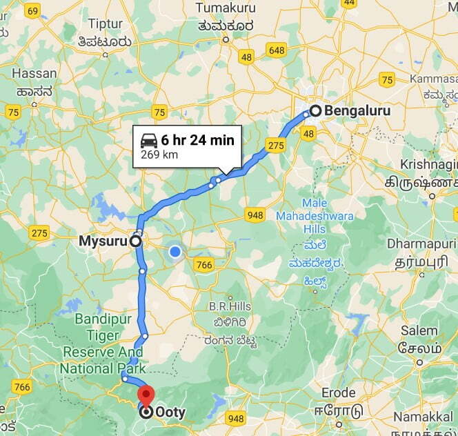 Bangalore to Ooty Route Map